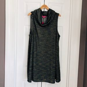 Tops - Plus size cowl neck olive knit tunic